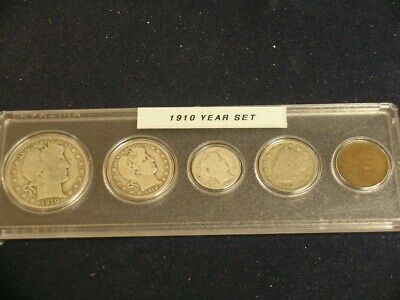 1910 Vintage Circulated Year Set - Nice 5-Coin set