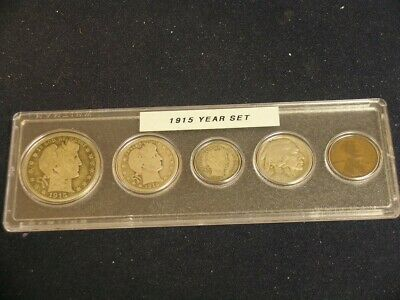 1915 Vintage Circulated Year Set - Nice 5-Coin set