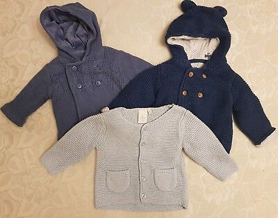 Jasper Conran & Mothercare Baby Boys Knitted Cardigan Bundle x 3. Age 0-3 Months