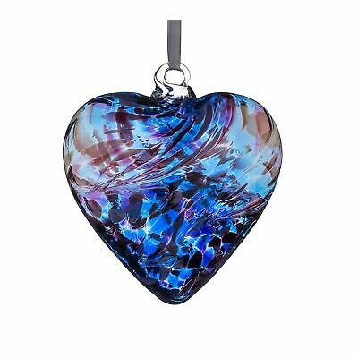 Sienna Glass Purple Blue 8cm Friendship Heart Hanging Hand Crafted Ornament Gift