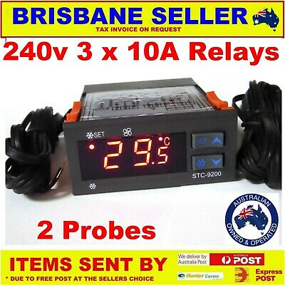 DIGITAL FRIDGE THERMOSTAT WITH DEFROST FREEZER 3 x 10A RELAYS 92 AUSSIE COMPANY