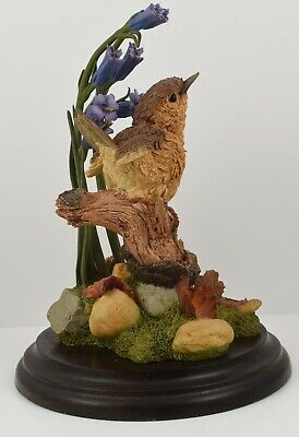 Large Country Artists CA 696 Malvern Wren & Bluebells Figurine on Wooden Plinth
