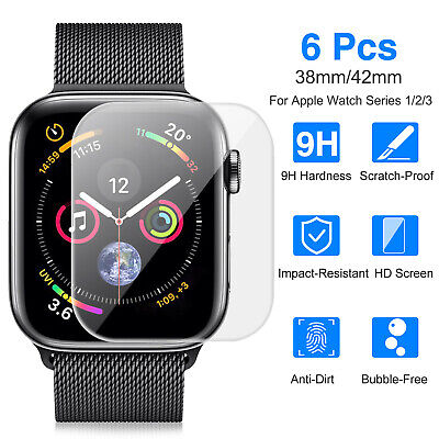 6pcs Premium Tempered Glass Screen Film Protector For Apple Watch Series 1 2 3 A