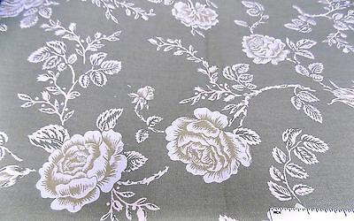 "Designer Cotton LARGE ROSE FLORAL Cream Beige Greens  56"" Wide x 76"" Long     D"