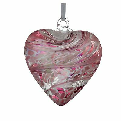 Sienna Glass Pastel Pink 8cm Friendship Heart Hanging Hand Crafted Ornament Gift