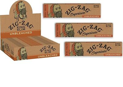 """3X Packs of ZIG ZAG UNBLEACHED """"Superieure"""" KING SIZE Cigarette Rolling Papers"""