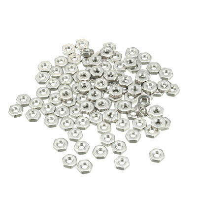 100pcs 2#-56 304 Stainless Steel Hexagon Hex Nut Silver Tone