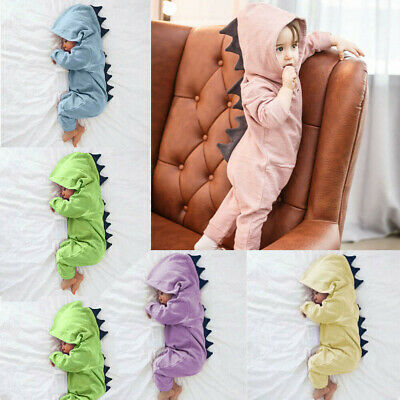 Newborn Infant Baby Boy's Girl's Dinosaur Hooded Romper Jumpsuit Clothes Outfit