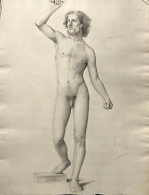 19Th Century French Realist Atelier Academie Drawing - Male Nude Standing