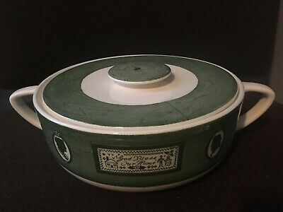 Colonial Homestead Royal Round COVERED Vegetable CASSEROLE Green God Bless Home