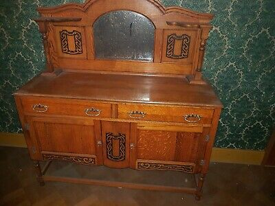 Antique Mahogany  carved dresser.with antique mirrors above. Sideboard. Storage