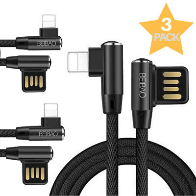 10Ft 3PACK USB Lightning Cable Heavy Duty iPhone 6S 7 8 X Charger Charging Cable