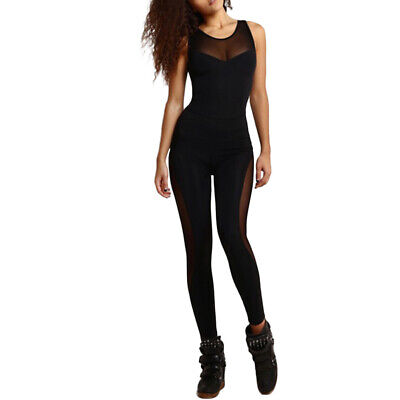 Sexy Women Yoga Rompers Mesh Suit Fitness Sports Gym Workout Jumpsuit Bodysuits