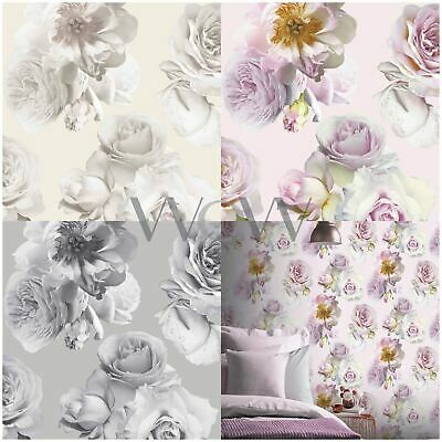 Daisy Wallpaper Flower Floral Black Pink Shiny Silver Luxury Weighted Arthouse