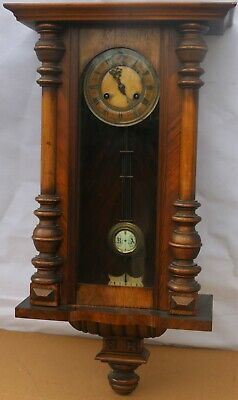 Old Large Working Wooden Cased Kienzle Vienna Type Wall Clock To Tidy Up