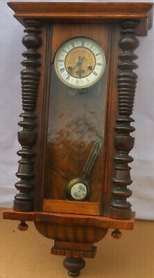 Old Large Working Wooden Cased Junghans Vienna Type Wall Clock