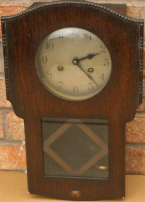 Old Small Wooden Cased Wall Clock With Coved Glass To Dial