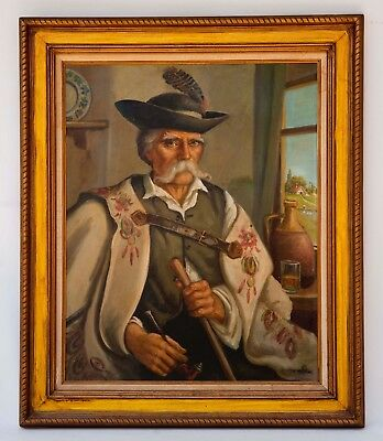 VINTAGE TYROLEAN-BAVARIAN MAN w/ PIPE OIL ON CANVAS LARGE GERMAN PAINTING 38X32""