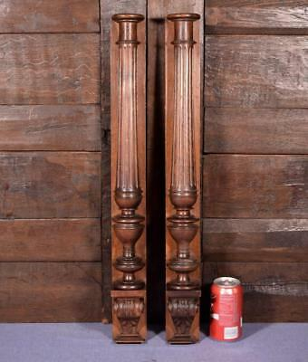 "26"" Pair of French Antique Walnut Wood Posts/Pillars/Columns with Pedestals"
