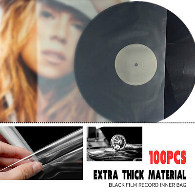 100PCS Antistatic Clear Outer Plastic Cover Ssleeves 12'' LP LD Vinyl Record