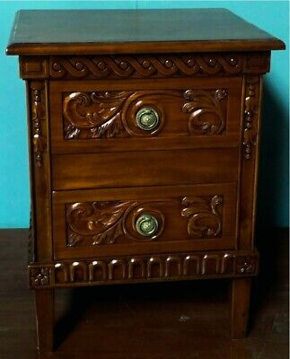 Pair of Solid Mahogany French Antique Style Marie Albert Bedside Chests