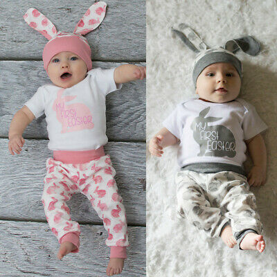 My First Easter Newborn Baby Girl Boy 3D Bunny Romper Pants Hat Outfits 3PCS Set