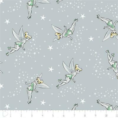 Camelot Fabric Disney Tinker Bell Pixie Dust in Light Grey HALF METRE