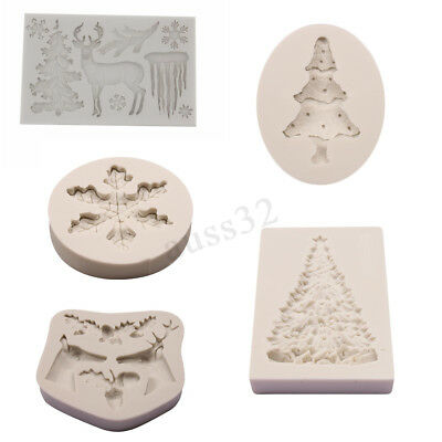 Christmas Xmas Tree Elk Snowflake Silicone Baking Mold Fondant Chocolate Mould !