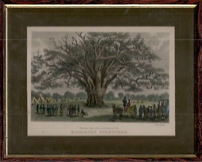 Archery, Hanault Foresters (Fairlop Oak), hand coloured repro of steel engraving