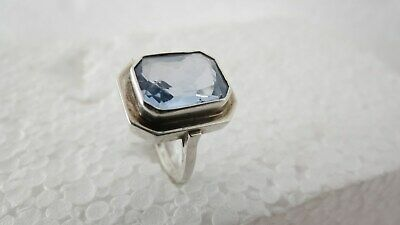 ART DECO Finger Ring 800 er Silber Aquamarin massiv groß Stein Schliff antik RAR