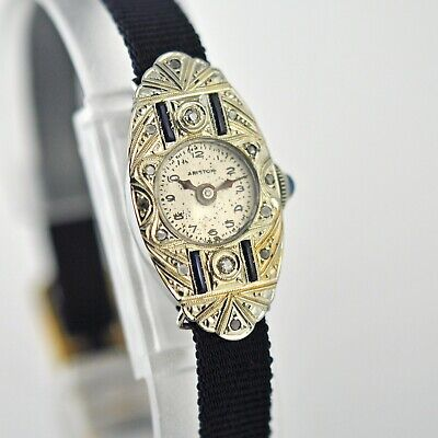 Real 1930' Art Deco 18K Solid White Gold Sapphires Diamonds Swiss Manual Wind