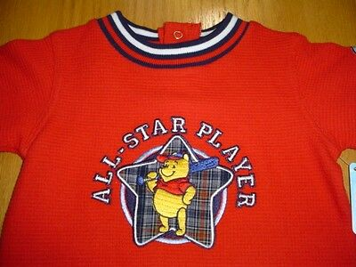 New Wt Disney Winnie Pooh Red Stitched Baseball All Star Shirt Infant Boys 18 Mo