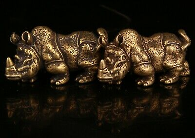2   Chinese Bronze Hand-Carved Rhino Statue Collection Gift Decoration