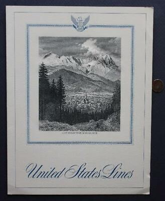 April 22,1964 United States Line SS America Passenger Ship menu with decal too!*
