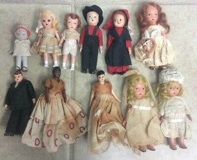 """VTG & Antique Assorted Small Dolls 4"""" To 5"""" Nancy Ann Story Book Frozen Legs"""