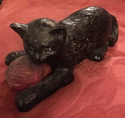 Antique English Bretby model of a black cat with red ball. Model #1518