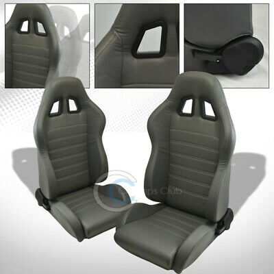 Sp Sport Gray Stitch Pvc Leather Reclinable Racing Bucket Seats+Sliders L+R C30