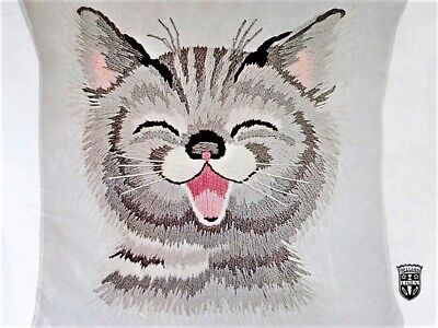 ✔️ Bucilla Crewel Kit LAUGHING HAPPY CAT Kitten Embroidery Rare Eszter Haraszty