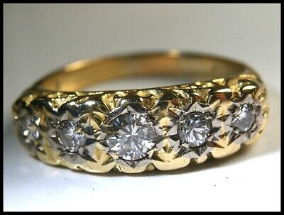Antique Edwardian 10k Gold and Platinum Accented Brilliant Cut Five Diamond Ring