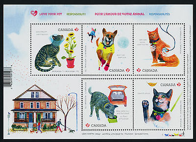 Canada 2829 MNH Animals, Love your Pet, Cat, Dog, Flowers