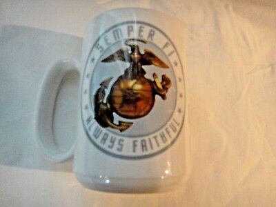 U.S. Marines Semper FI, Always Faithful Large ceramic coffee cup Made in USA