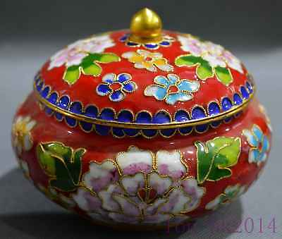 Chinese Royal Cloisonne Carve Beauty Flower Emperor Use Collectable Storage Box