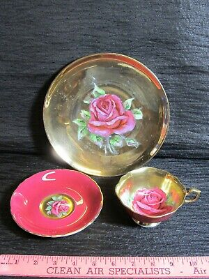 rare PARAGON Gold CABBAGE ROSE Tea Cup Saucer TRIO set Hand Painted STUNNING red