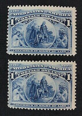 CKStamps: US Stamps Collection Scott#230 (2) 1c Columbian Mint NH OG