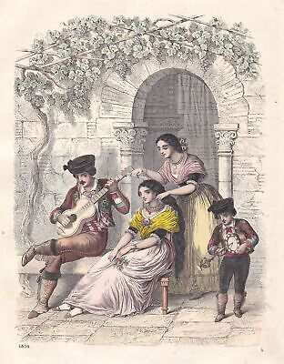1861 Andalusien Spanien Spain Espana Einwohner people Lithographie lithograph