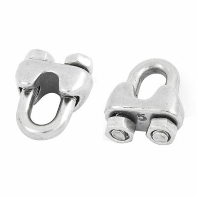 """2pcs Stainless Steel 5mm 1/5"""" Wire Rope Clip Cable Clamp Fastener New"""