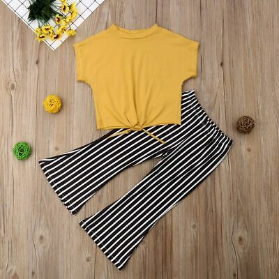 Summer Clothes Kids Baby Girls Set Short Sleeve Knot T-Shirts Tops Striped Pants