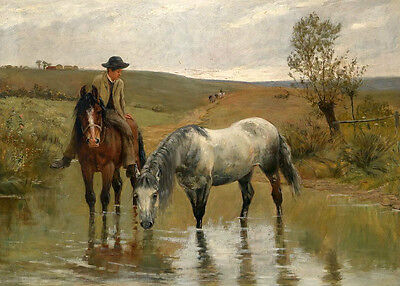Charming Oil painting male portrait farmer watering his horses Hand painted