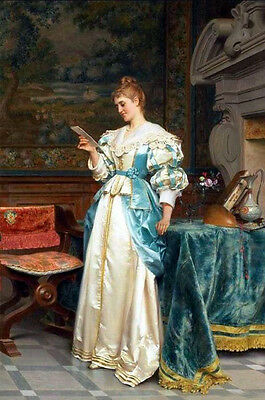 Oil painting Hand painted woman reading her love letter wearing dress canvas