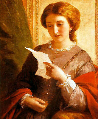 Art Oil painting Chalon, Alfred - English Portrait young woman reading letters